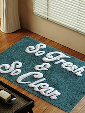 Blue cotton printed bathmat -  online shopping for bath mats