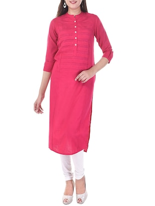 pink cotton printed straight kurta