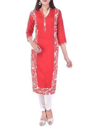 red cotton printed straight kurta