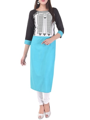 Sky blue printed cotton straight kurta