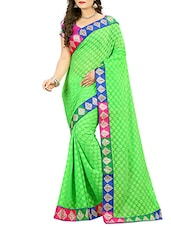 green cotton blend printed saree with blouse -  online shopping for Sarees