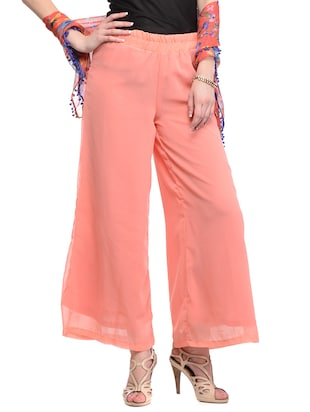 pink georgette palazzos - 12950369 - Standard Image - 2