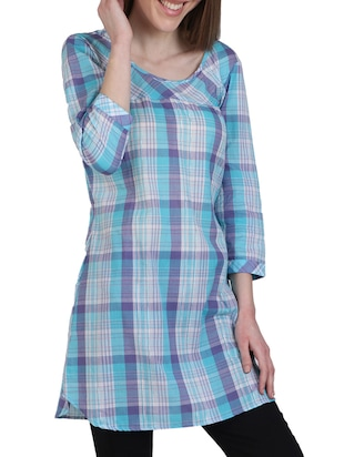 Sky blue cotton checks printed a-line kurti