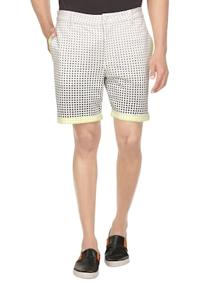white cotton polka dots short