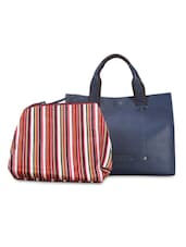 Textured Navy Blue Handbag With Striped Pouch - By