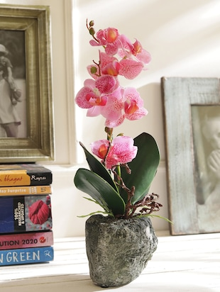 Pink Decorative Artificial Plant with Textured Pot