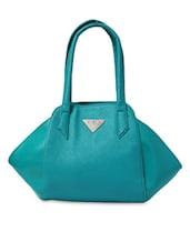 Sea Blue Leatherette Structured Handbag - By