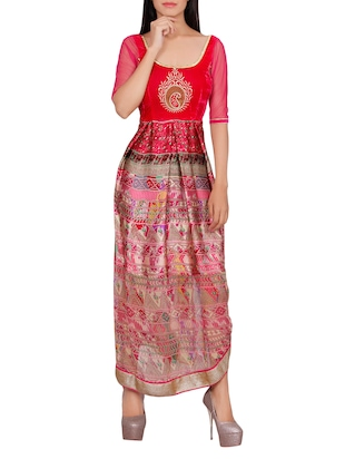 pink satin flared kurta