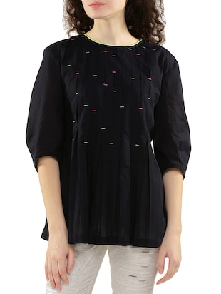 black cotton regular top