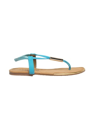 blue leatherette back strap sandals - 12954460 - Standard Image - 2