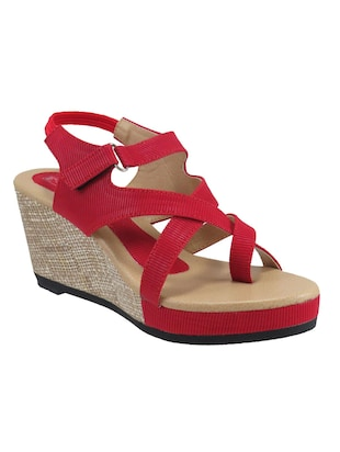 Red Fabric Platforms Wedges thumbnail
