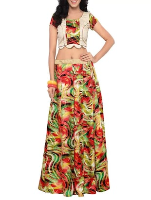 Multicolored Art Silk Flared lehenga
