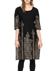 Black Cotton Block Printed Straight Kurta - By