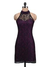 Purple Poly Lace Plain High Neck Dress - By