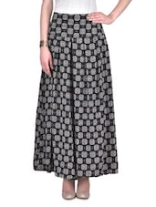Printed Black Box-Pleated Long Skirt With White Camisole - By