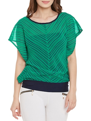 green striped georgette regular top