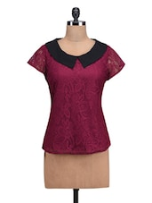 Burgundy Poly-Lace Top With Peter Pan Collar - By