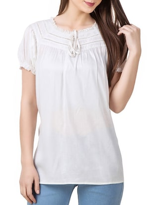 white rayon regular top