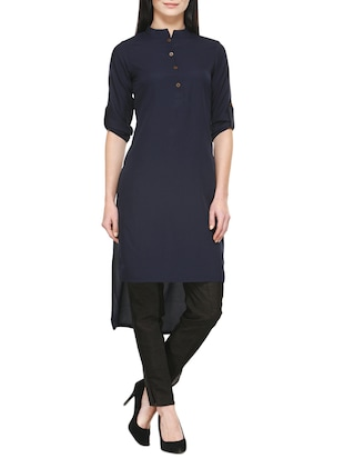 blue crepe highlow kurta