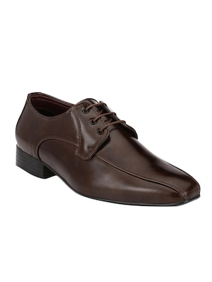 brown leatherette lace up derby