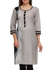 Grey Cotton Hand Work Printed Round Neck Kurta - By