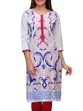White Cotton Printed Round Neck Kurta - By