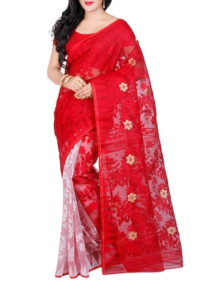 red cotton silk jamdani saree