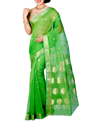 green cotton silk woven saree with blouse