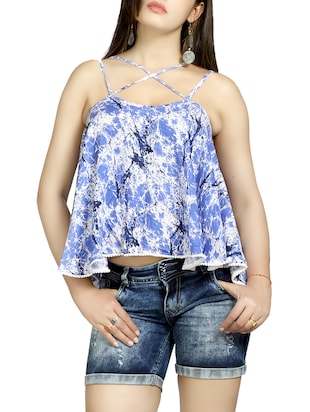 blue rayon A-line top