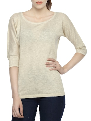 beige cotton regular top