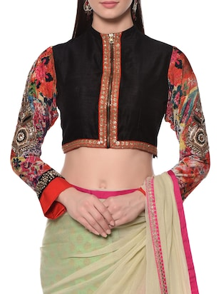 black raw silk embroidered blouse