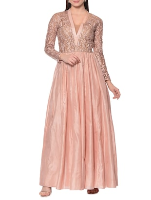 Peach embroidered pure silk gown