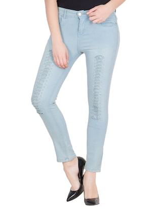 light blue cotton distressed jean
