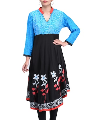 Black blue color, rayon block printed A- line kurta