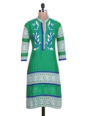 Green And White Printed Cotton Kurta - By