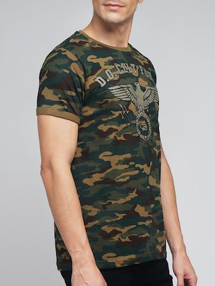 green cotton camouflage printed t-shirt - 12984871 - Standard Image - 2