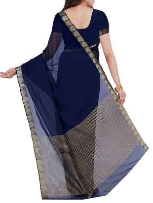 Blue Chiffon  Saree with blouse - 12985341 - Standard Image - 2