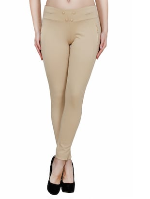 beige polyester jeggings