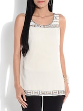Off-white Embellished Sleeveless Top - By