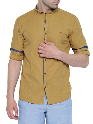brown linen casual shirt