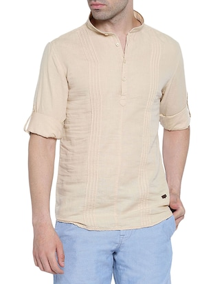 solid beige cotton kurta