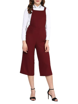 red poly georgette dungaree -  online shopping for Jumpsuits