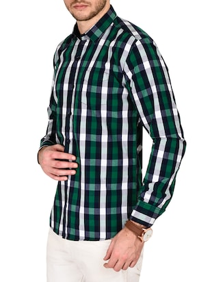 green cotton checked casual shirt - 12990935 - Standard Image - 2
