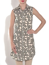 Beige Crepe Printed Sleeveless Tunic - By