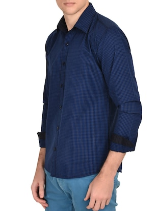 blue cotton checked casual shirt - 12993215 - Standard Image - 2