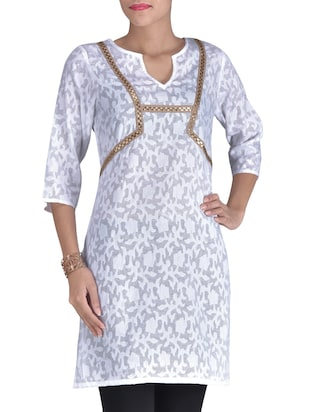 White Cotton Blend Printed Kurta