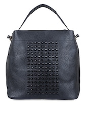 Solid Black Leatherette Stone Studded Handbag - By