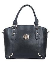 Black Leatherette Embellished Handbag - By
