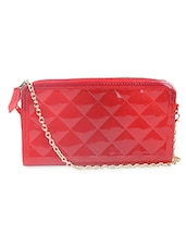 Red Leatherette Clutch With Chain Sling - By