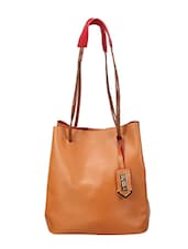 tan leatherette tote -  online shopping for Totes